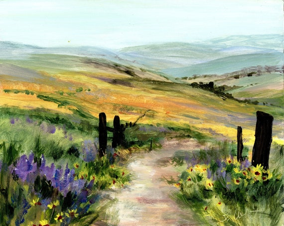 The Dalles Mountain Ranch above Horsethief State Park in the Columbia River Gorge - Acrylic on Gessobord