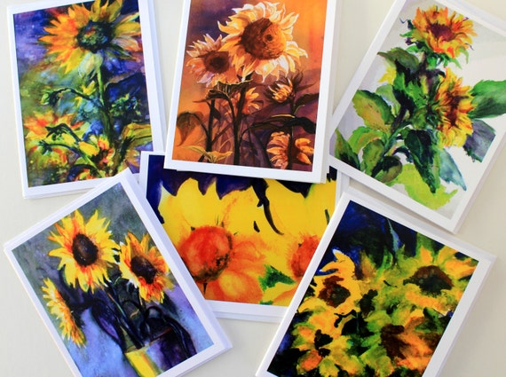Sunflowers - note cards - 6 assorted cards - watercolor florals - blank cards - Bonnie White watercolors - made in the gorge