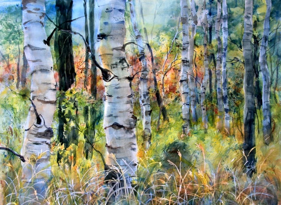 Aspen Grove 18 - a print of a watercolor by Bonnie White