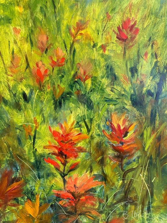 Indian Paint Brush original oil painting of wildflowers of the pacific northwest 9x12 original painting