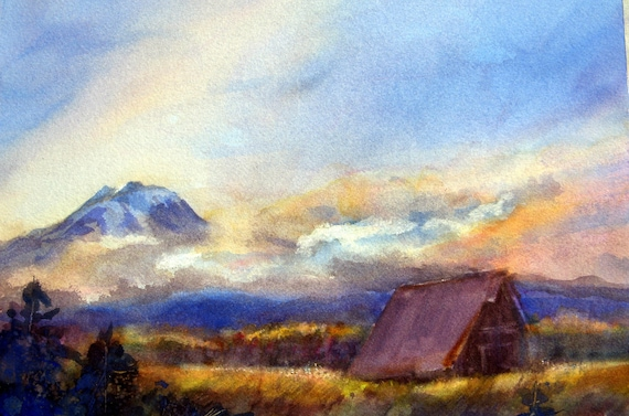 Glenwood Valley - Mt. Adams print of a watercolor by Bonnie White mountain print