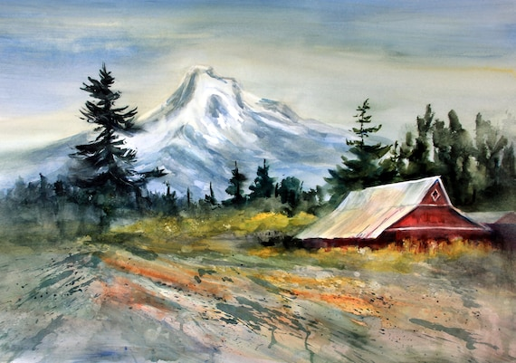 A painting of Mt. Hood from the Hood River Valley (behind the pub in Parkdale, Oregon) Mt. Hood 298