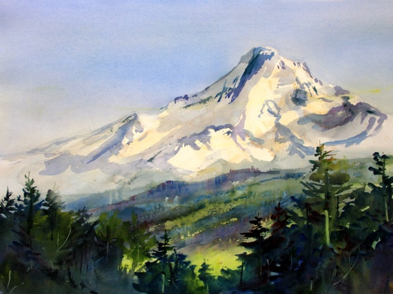 Mt. Hood 248 - signed Mt. Hood print of a watercolor painting by Bonnie White
