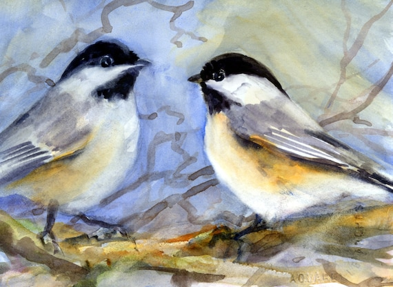 Black-capped Chickadee song bird signed print by Bonnie White