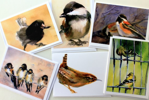 Bird 1 - 6 assorted note cards with envelopes - Bonnie White - note cards - 4.25x5.5 - wren - chickadee - swallows - gold finch