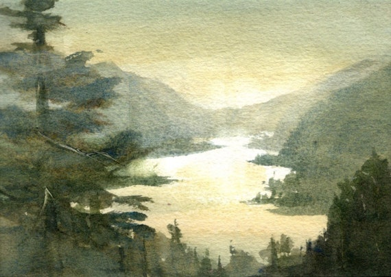 Columbia Gorge original watercolor painting by Bonnie White