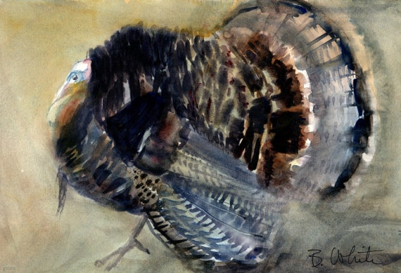 Turkey Trot original watercolor painting by bonnie white 6.5x9.5 inches matted to 11x14