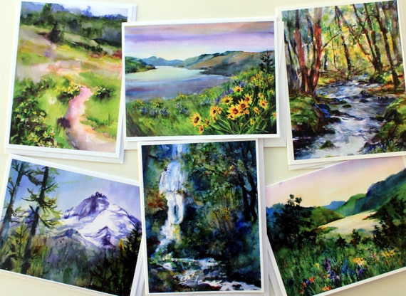Tom McCall Park - note cards - assorted note cards - watercolor note cards - Bonnie White note cards - Columbia Gorge note cards