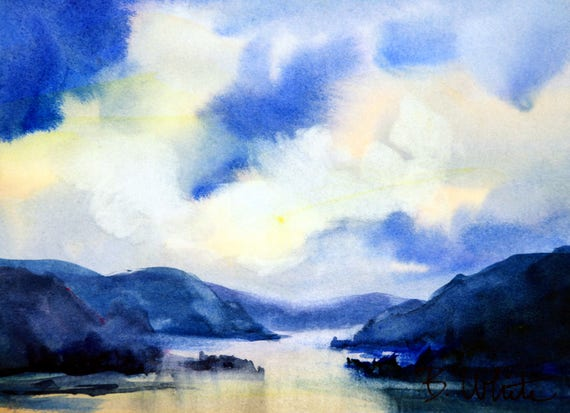 CG original #1 - 5x7 watercolor painting matted to 8x10 - original watercolor painting by Bonnie White - Columbia Gorge