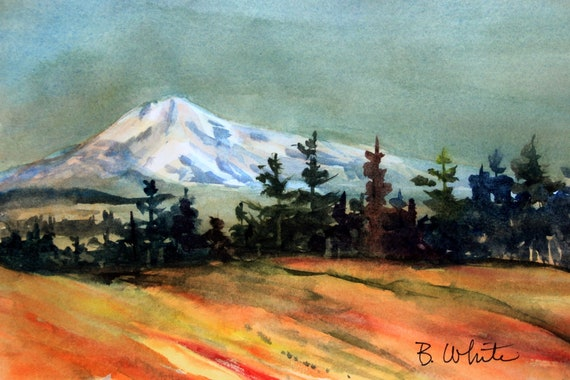Mt. Adams original painting from east Columbia Gorge - 7 x 10.5 inches - if matted frame size would be approx. 11x14