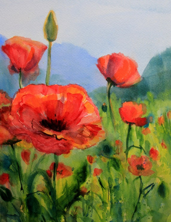 Poppies 36 - Columbia Gorge Artist - Bonnie White - flowers - signed print
