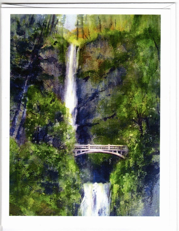 Multnomah Falls 3 blank note cards with envelopes 4.25x5 inches
