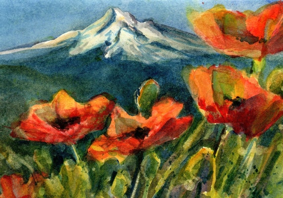 Mt Hood with poppies original watercolor 5x7 matted to 8x10 by Bonnie White