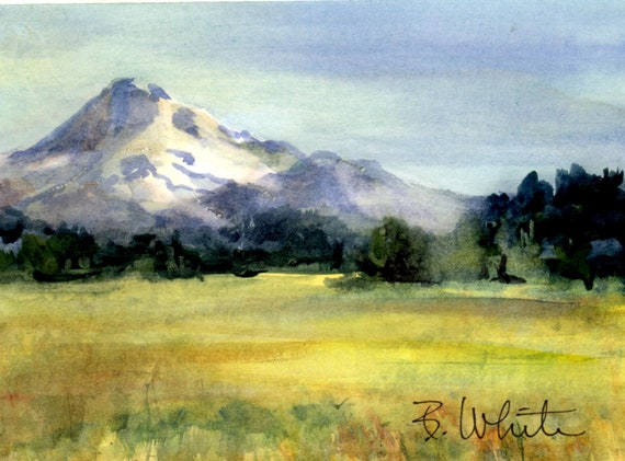 Mt. Hood original #3 - original watercolor - Bonnie White original - Bonnie White Gorge artist - painting - art - watercolor - 8x10