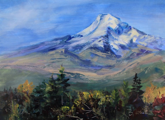 Mt. Hood in Blue, acrylic from the upper Hood River Valley