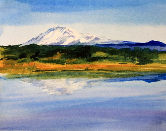 original watercolor Mt Adams painting 5x7 matted to 8x10