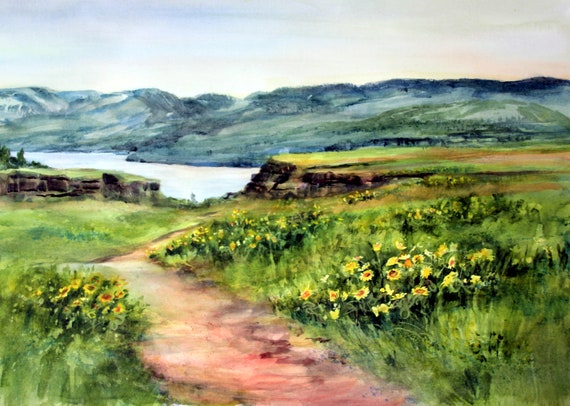 Rowena Crest signed landscape print of a watercolor painting of the Columbia River Gorge in bloom