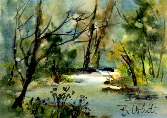 Stream painting by Bonnie White - original painting -
