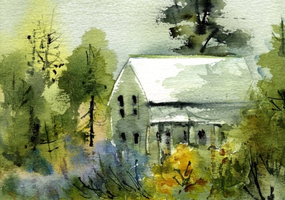country cottage - original watercolor painting by Bonnie White