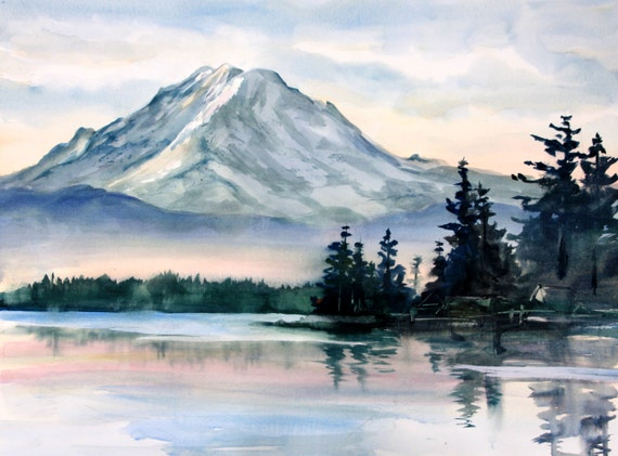 Mt. Rainier 2 - a signed print of Mt. Rainer by Bonnie White watercolor artist