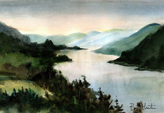 Columbia Gorge original watercolor of Beacon Rock from Cape Horn by Bonnie White - 7x10 matted to 11x14