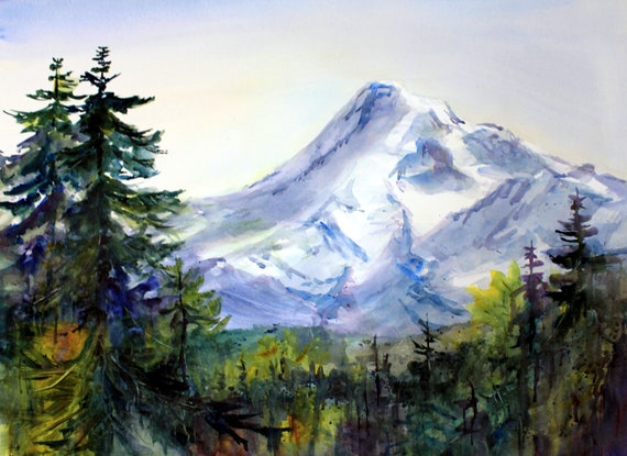 Mount Hood signed print of a watercolor done by Bonnie White Mt. Hood 225