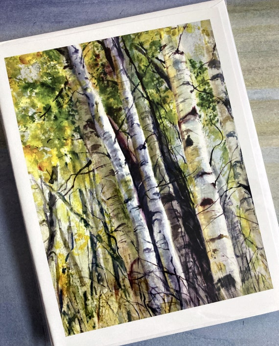 Aspen Grove blank note cards 4.25x5.5 with envelopes in clear envelope in packs of 5 or 10