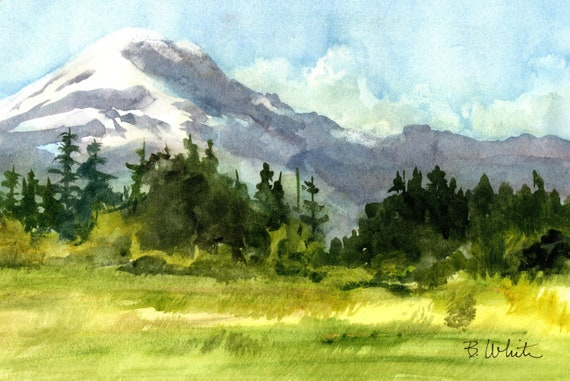 Mt. Adams original painting from the Trout Lake Valley by Bonnie White - 7 x 10 - should be framed to 11x14 or larger