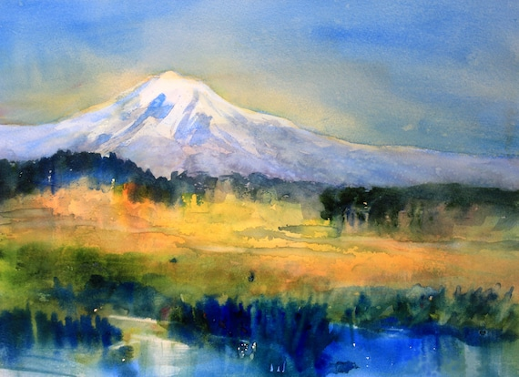 Mt. Adams 87 a print of Mt. Adams from a watercolor by Bonnie White