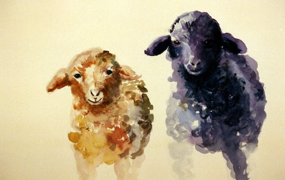Friends - signed print - watercolor - Bonnie White - children's room - wall decor - wall art - baby gift - child - sheep - lambs