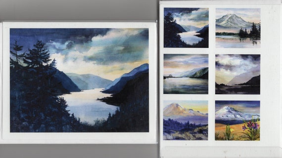 Blue Gorge note cards by Bonnie White - the Columbia Gorge includes Mt. Rainier, Mt. Hood and Mt. Adams
