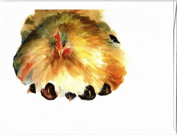 chicken and chicks blank note cards 4.25x5 with envelopes
