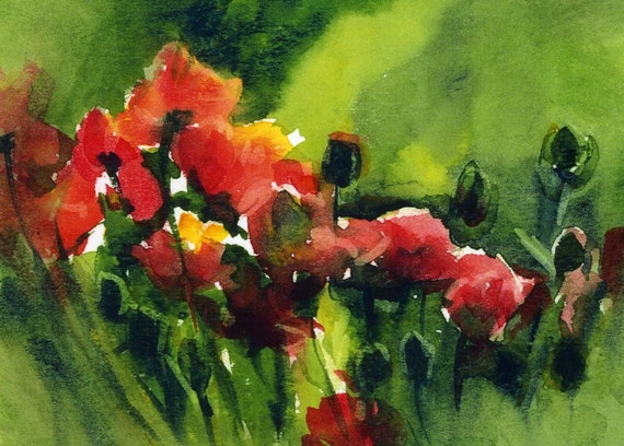 Poppies in Motion - a signed poppy print from an original watercolor by Bonnie White