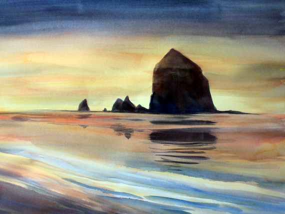 Cannon Beach a signed print of a watercolor painting of Cannon Beach Oregon by Bonnie White