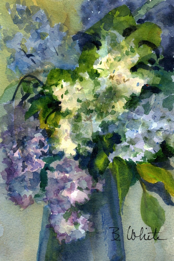 Purple and white lilacs original watercolor painting by bonnie white 5x7 matted to 8x10