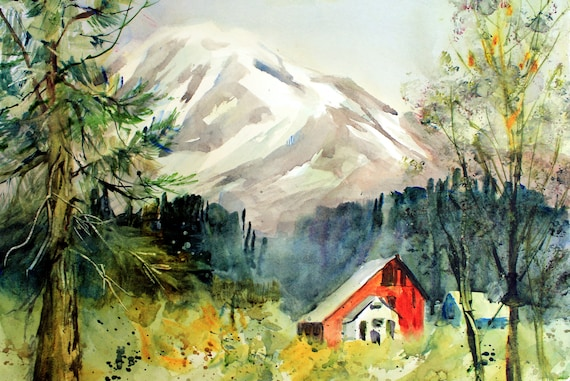 Trout Lake - Beek's Barn a print of Mt. Adams from a watercolor by Bonnie White