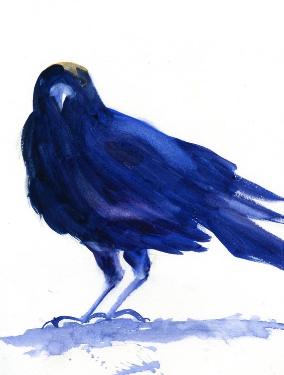 Crow 4 -- a signed print of a watercolor painting done by Columbia Gorge artist Bonnie White crow and raben art