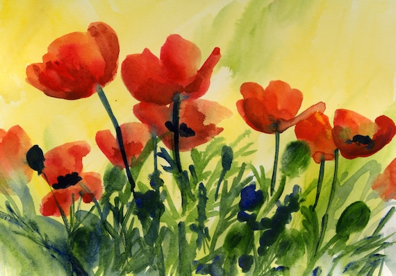 Poppies 22 signed print from a watercolor done by Bonnie White