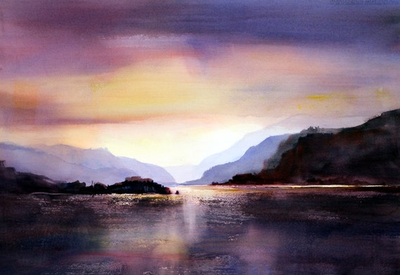Columbia Gorge Landscape signed print from an original watercolor by Bonnie White Columbia Gorge 301