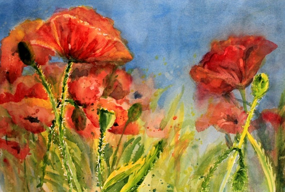 Red poppies art signed print of a watercolor by Bonnie White Poppies 37