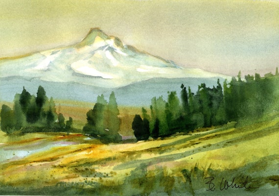 Mt. Hood original watercolor from the upper Hood River Valley by Bonnie White.  It is 6.75 x 10 inches and unmatted