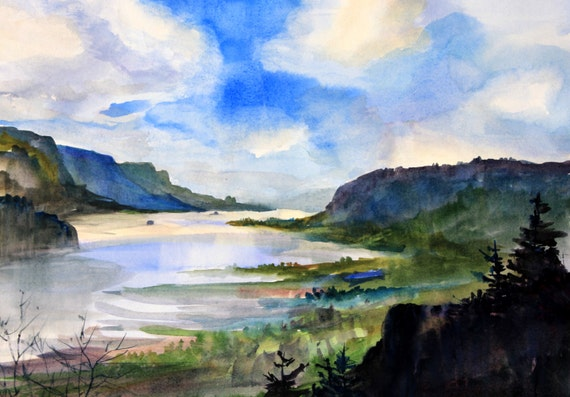 Columbia Gorge 365 signed Columbia Gorge print by Bonne White watercolor