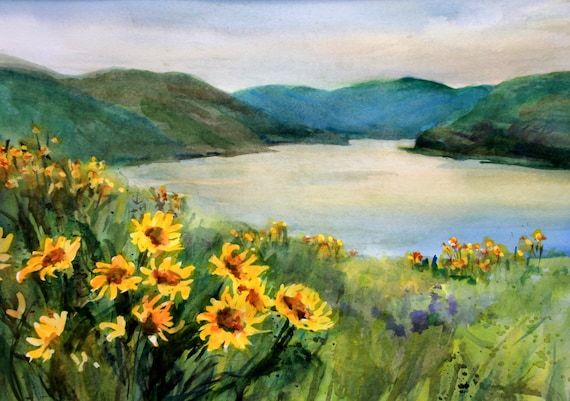 Columbia Gorge signed print from Mosier with balsam root by Bonnie White Columbia Gorge 360