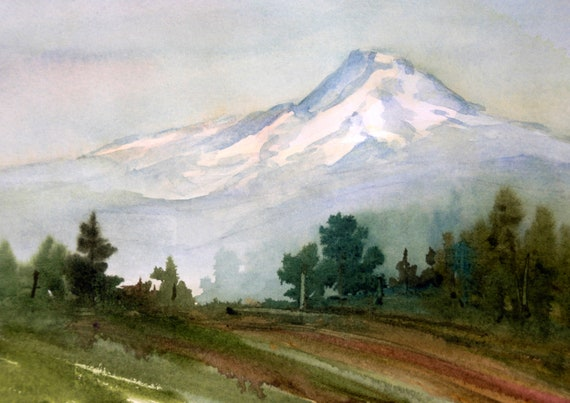 "Mt Hood original watercolor by Bonnie White 6.5"" x 10.5"" unmatted and unframed.  You would frame to 12x16 or 11x14"