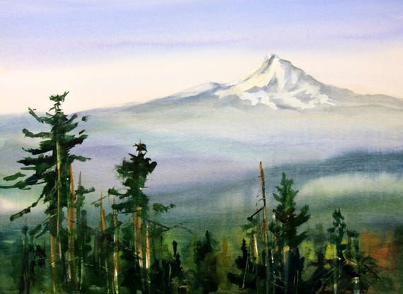 Mt. Hood 270 - signed Mt. Hood print by Bonnie White watercolor