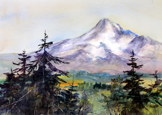 Mt. Hood 284 - signed Mt. Hood watercolor print - Bonnie White