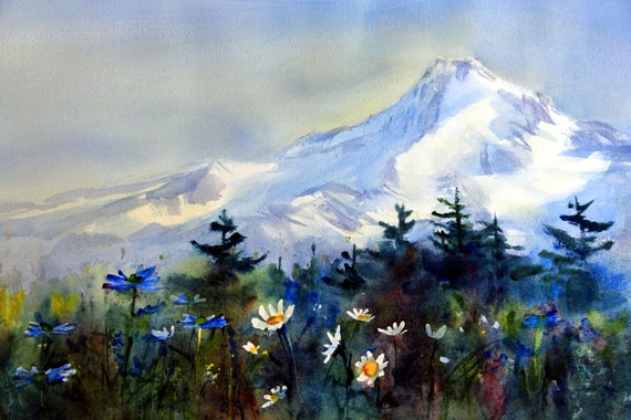 Mt. Hood with daises in foreground signed print by Bonnie White