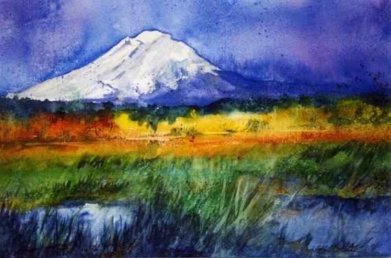 Mt Adams wetlands signed watercolor print from and original watercolor by Bonnie White
