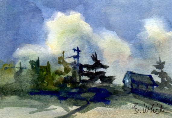 original watercolor - Sky and building - Bonnie White - Columbia Gorge Artist - landscape painting - 5x7 goes in 8x10 frame