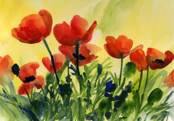 A signed red poppy print to brighten your life Poppies 22